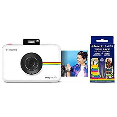 Polaroid Snap Touch Portable Instant Print Digital Camera with LCD Touchscreen (White) w/ 20 Twin Pack Zink 2x3 Photo Paper by Polaroid