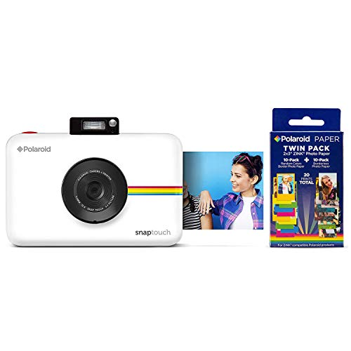 Polaroid Snap Touch Portable Instant Print Digital Camera with LCD Touchscreen (White) w/ 20 Twin Pack Zink 2x3 Photo Paper