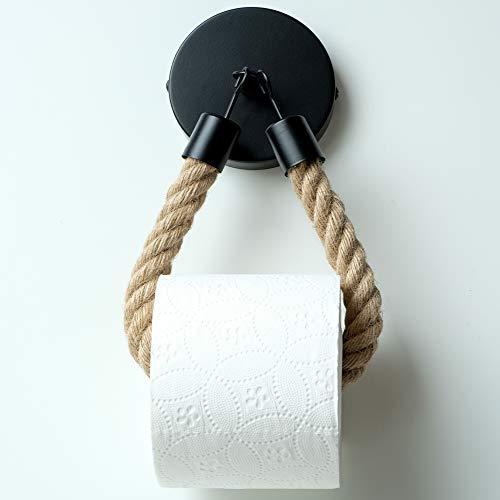 HENNEZ Toilettenpapierhalter Schwarz Matt Vintage Klopapierhalter - Klorollenhalter Toilettenpapierhalter Vintage - WC Papier Halterung - WC Rollenhalter
