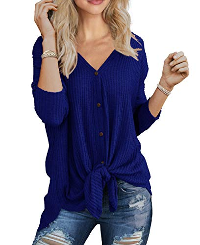 IWOLLENCE Womens Loose Henley Blouse Bat Wing Long Sleeve Button Down T Shirts Tie Front Knot Tops Royal Blue Medium