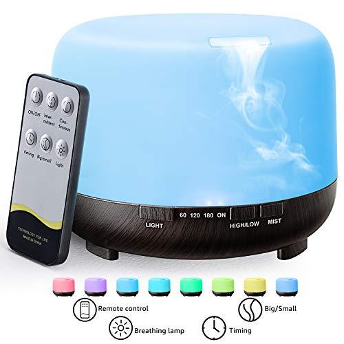 500ml Aroma Diffuser,TOPESCT Ultraschall Luftbefeuchter Fernbedienung Vernebler Raumbefeuchter Elektrisch Duftlampe Öle Diffusor mit 7 wechselnden Farben und automatischer Abschaltung ohne Wasser