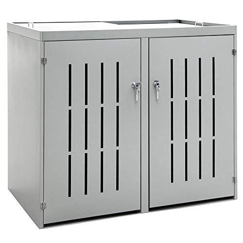 V2Aox 2er Mülltonnenbox Müllbox Mülltonnenverkleidung Edelstahl Schiebedach
