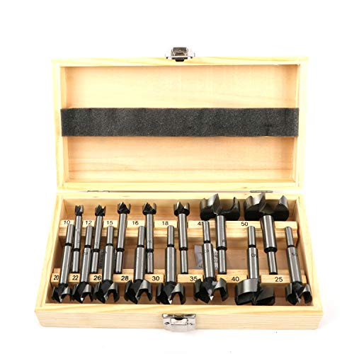 uyoyous 15 Pcs Forstner Drill Bit 2/5-2 Inch Carbon Steel Woodworking Hole Saw Set Wood Cutter Auger Opener Round Shank Drilling Cutting Tool in Wooden Box Storage (Metric 10mm-50mm)