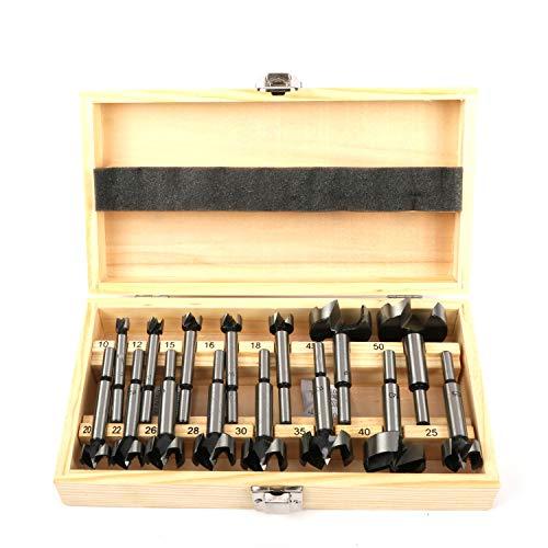 jxgzyy Forstner Drill Bit Set 10-50mm 15 Pcs Carbide Forstner Bits High Speed Steel Wood Tool Punching Bit Wood Slabs Flat Wing Drilling Hole Hinge