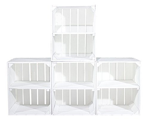4er-Set weiße Holzkisten mit zusätzlichem (kurzen) Mittelbrett als Schuh- oder Bücherregal 50X40X30CM
