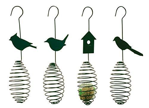 Esschert Design Futterfeder, Vogelfutter-Spirale, Halterung für Futterball, Futterkugel, sortiert, 1 Stück, ca. 11 cm x 7,5 cm x 35 cm