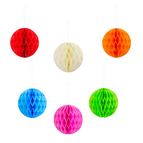 Oblique Unique® Wabenball Honeycomb Ball Set 6 STK. bunt Papierbälle Hängedeko Geburtstags Party Feier Deko Gartenparty Dekoration - 14,5cm