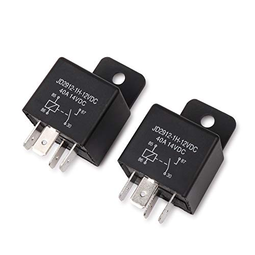 EHDIS Car Relay 4 Pin 12v 40amp Spst Model No.: JD2912-1H-12VDC 40A 14VDC, Auto Switches & Starters,Pack of 2