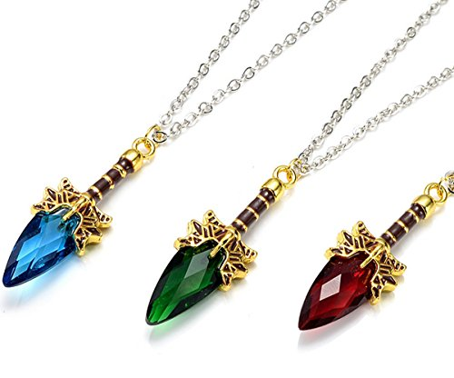 Halskette Halsanhänger Halsschmuck Kette Wappen dota 2 Aghanim's Scepter Zepter Schwert mit Kristall Accessoires muss für jeden Fan Farbe nach Wahl (blau)