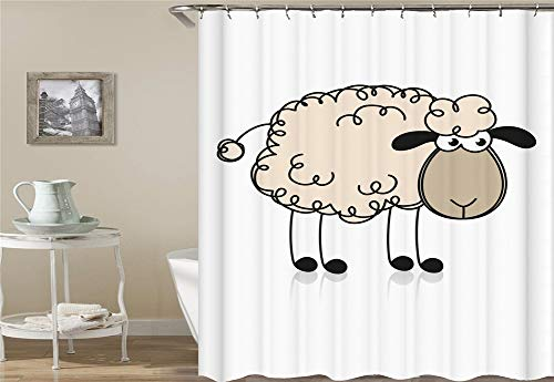 ZZZdz Anime. EIN Süßes Kleines Schaf. Duschvorhang 3D Hd-Druck Verblasst Nicht 180X180 cm Wasserdichtes Gewebe 12 Freie Haken Hauptdekoration.