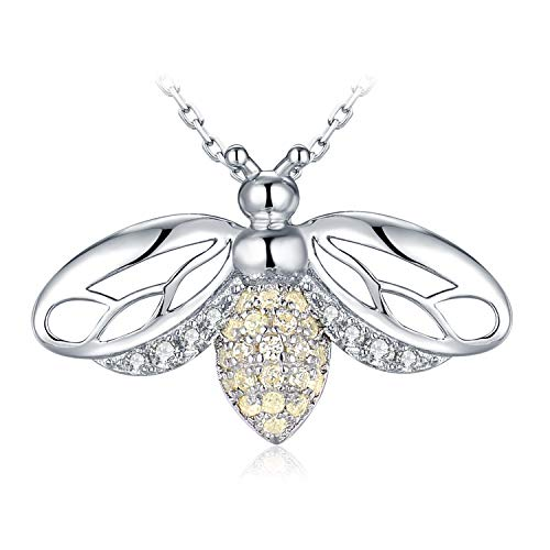 JewelryPalace Golden Cubic Zirconia Hollow Wing Honey Bee Pendant Necklace 925 Sterling Silver 18 Inches Box Chain