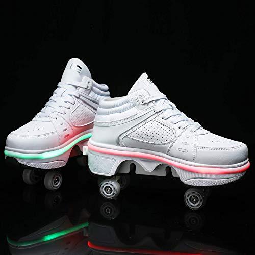 Pattini a rotelle LED Scarpe da Skate per Donna Uomo, Ragazzi Bambini 7 luci di Colore Scarpe con Ruote Scarpe da Ginnastica con rotelle, per Un Regalo per Principianti Unisex, Argento (LowT
