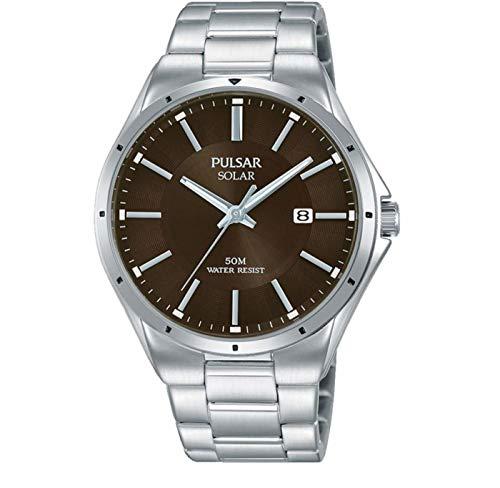 Pulsar Herren Analog Solar Uhr mit Edelstahl Armband PX3137X1
