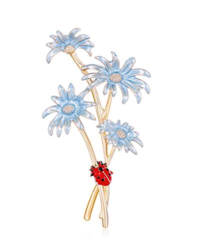 FENGJI Womens Gold Plated Fancy Flower Pattern Pin Brooch Party Beach Girls Jewellery with Gift Bag Color B