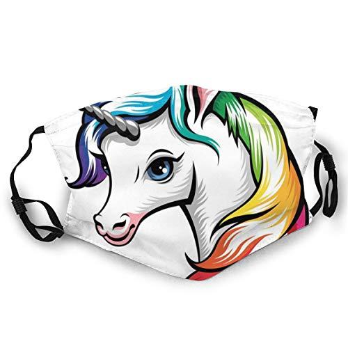 Gezichtsmasker, schattige witte eenhoorn met regenboogkleuren op het gezicht van vele blauwe ogen met dierenprint