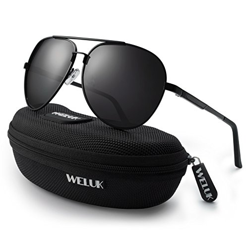 WELUK Men's Military Style Suglasses Polarized 64mm Al-Mg Frame for Fishing Driving (Black/64mm)
