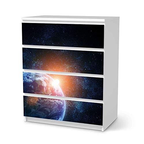 creatisto Wandtattoo Möbel passend für IKEA Malm Kommode 4 Schubladen I Möbeldeko - Möbel-Sticker Aufkleber Folie I Innendekoration für Schlafzimmer und Wohnzimmer - Design: Sunrise