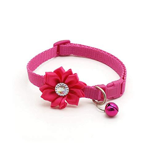 1 collar de campana para gato con diseño de flores, ajustable, fácil de llevar, hebilla para perro, campanas, collar de flores y gatos, suministros para mascotas, color rojo rosa