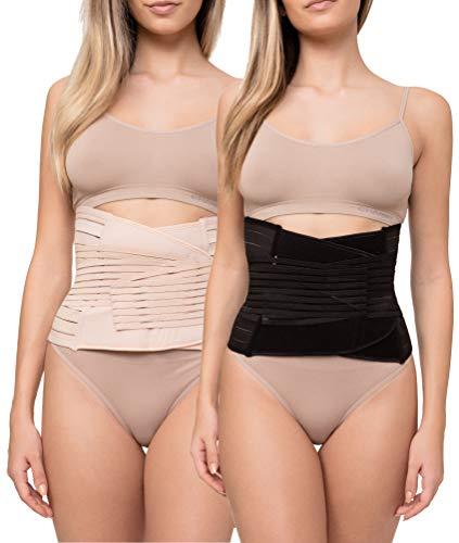 Channo Pack de 2 Fajas Cinturones Lumbares para Espalda Hombre y Mujer Doble Ajuste Fuerte (Negro, Visón L/XL)