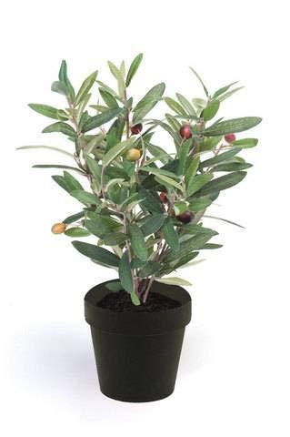 artplants.de Kunstbaum Olivenbaum Alberto mit Früchten, 35cm - Deko Olivenbaum - Kunststoff Olivenbaum