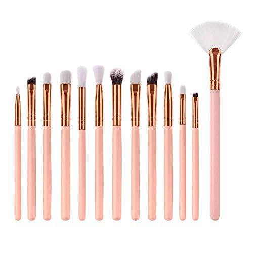 Drawihi Pinceaux Maquillages Professionnels Kit de 13pcs, Poils Synthétiques Vegan, 100% Sans Cruauté, Soyeux et Denses (rose)
