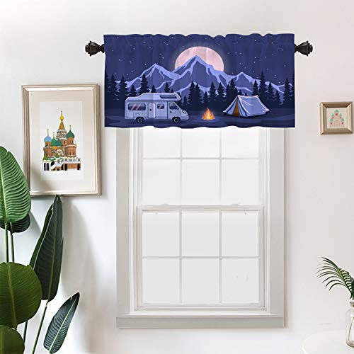 Batmerry Adventure Camping Kitchen Valances Half Window Curtain, Rv and Camping Camper Van Kitchen Valances for Windows Bedroom Heat Insulated Valance for Decor Reducing The Light 52x18 Inch