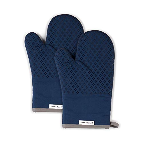 KitchenAid Asteroid Cotton Oven Mitts with Silicone Grip, Set of 2, Blue Willow 2 Count