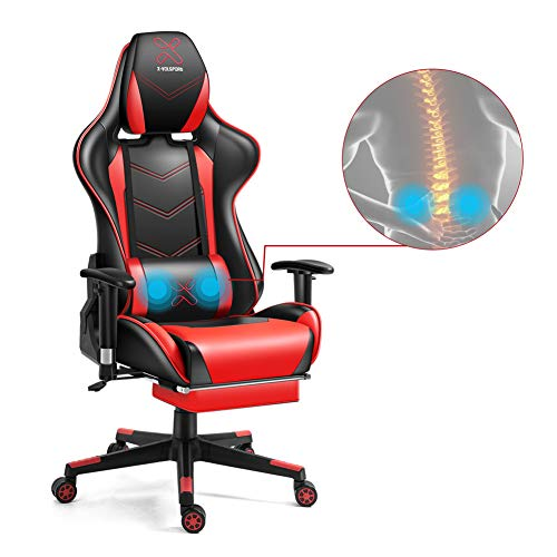 X-VOLSPORT Gaming Chair Office High Back Chair with Footrest, Racing Style PU Leather Ergonomic Computer Video Game Chair with Headrest and Lumbar Massage (Red/Black)