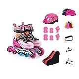 Patines, Patines, Infantil conjunto completo de Patines a ruedas, patines, zapatos del rodillo de los hombres y mujeres de, un zapato de doble finalidad del patín (color: rosa, Tamaño: M (32-35 yardas