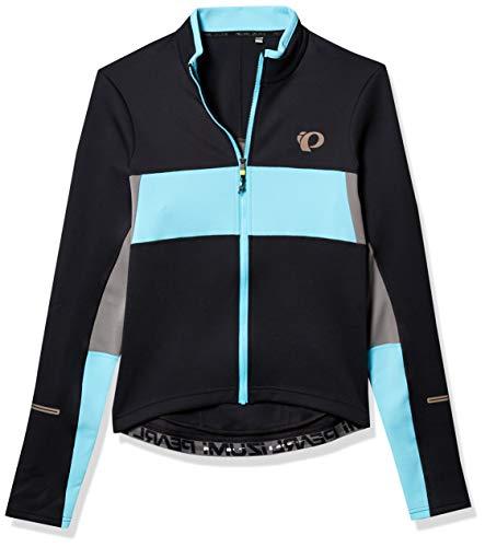 PEARL IZUMI Men's Ride Elite Escape Thermal Long Sleeve Jersey, Black/Blue Mist, Medium