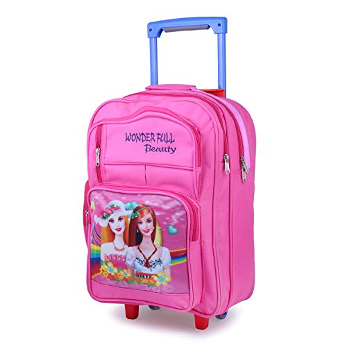 Bags Bazar Polyester Cartoon Printed Children's Rolling Luggage Trolley Wheels Soft-sided Backpack for School Kids, Girls and Boys (Medium_18x13x7inch) (Pink)