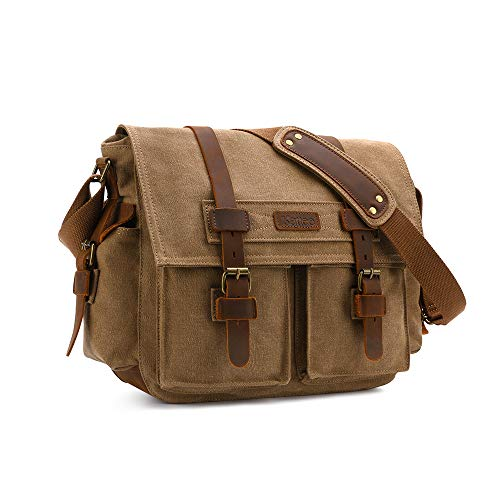 KATTEE Leather Canvas Vintage Camera Bag