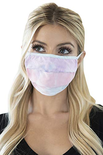 Reusable Fabric Face Mask Unisex - Outdoor Print Cloth Comfy Breathable Mouth Shield Washable Covering Protection Men Women (Pleated/Ear Loop - Tie Dye Blue Lavender)
