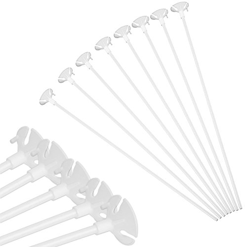 Pllieay 100 Pieces White Balloon Sticks Holders with Cups for Wedding, Party and Decor