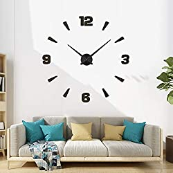 RXS&CC Frameless 3D Wall Clock Large DIY Home Decor with Sticker Mirror Numbers, Creative Art Design Huge Modern Reloj de Pared Gift for Living Room Bedroom Kitchen and Office School Decorative