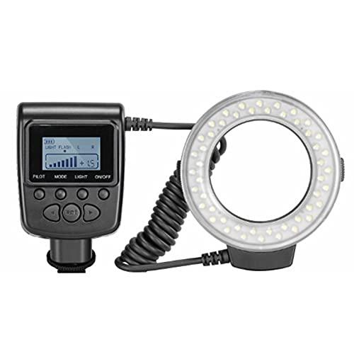 CNmuca Fotografia RF-550D Flash de anel com tela LCD Adaptador de controle de energia Difusor de flash para fotografia em primeiro plano Preto
