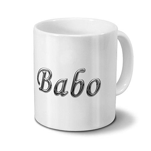 printplanet Tasse mit Namen BABO - Motiv Chrom-Schriftzug - Namenstasse, Kaffeebecher, Mug, Becher, Kaffeetasse - Farbe Weiß