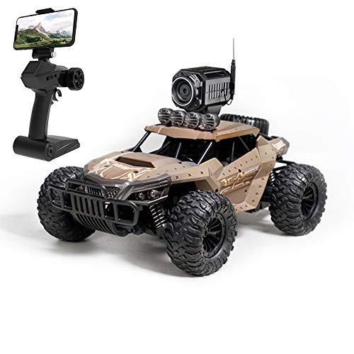 MXXQQ RC Auto mit WiFi FPV 720P Kamera-HD 25 km/h 50 ° Steigwinkel Elektrische Hochgeschwindigkeitsrennen 01.18 Funk-Fernbedienung Climb Off-Road Buggy Spielzeug für Jungen,Beige