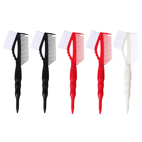 FRCOLOR 1 Set 5pcs Hair Color Brushes Professional Salon Tint Tools Hair Dyeing Brushes Hair Coloring Kit Hair Dyeing Tool for Salon Barber Home (Black, White, Red)