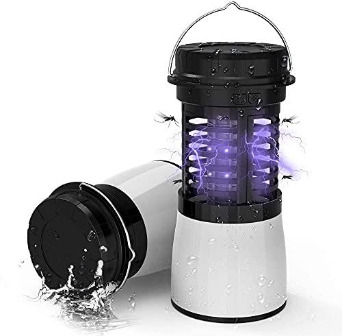 Serrale Lámpara 3-en-1 Mosquito Killer Linterna portátil para Acampar Linterna Impermeable Compresible Bug Zapper con 2200 mAh Recargable (Blanco)