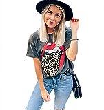 Yutila Camiseta de Mujer Manga Corta Labios Impresión Blusa Camisa Cuello Redondo Basica Camiseta Verano Tops Casual T-Shirt