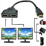 1080P HDMI maschio a doppio HDMI femmina 1 a 2 vie Splitter cavo adattatore convertitore per lettori DVD, PS3/HDTV/STB e la maggior parte dei proiettori LCD (nero)