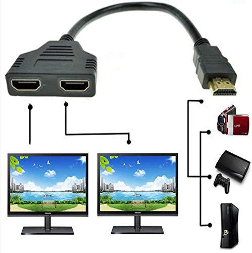 1080P HDMI maschio a doppio HDMI femmina 1 a 2 vie Splitter cavo adattatore convertitore per lettori DVD, PS3 HDTV STB e la maggior parte dei proiettori LCD (nero)