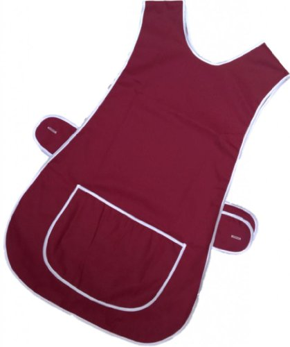 NIEUWE LADIES TABARD TABBARD APRON MET POCKET PLUS SIZE BIG KITCHEN CLEANING CHEF (OS / Large /UK 16-18, Wijn - Bourgogne)
