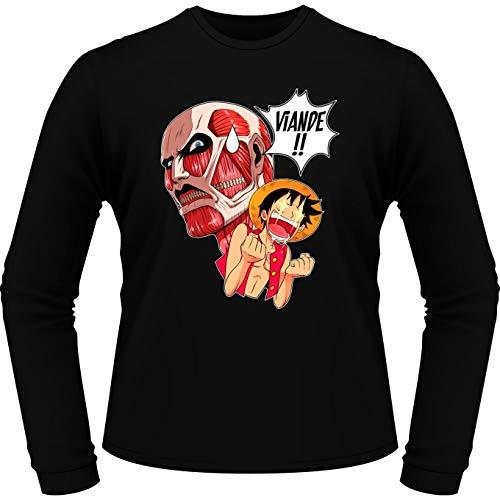 T-Shirt à Manches Longues Noir One Piece - Attaque des Titans parodique Luffy VS Titan Colossal : Viande !!!! (Parodie One Piece - Attaque des Titans)