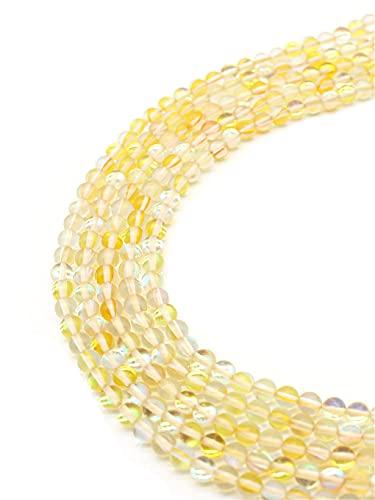 Piedra natural de labradorita amarilla sintética flash luna piedra perlas redondas sueltas bolas para hacer joyas pendientes pulsera DIY amarillo 6mm aprox. 63beads
