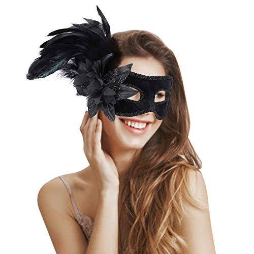 Máscara veneciana para mujer con pluma de pavo real y flor, máscara de Halloween, fiesta de disfraces, carnaval, media máscara de pluma, máscara de ojos, disfraz de Navidad, fiesta
