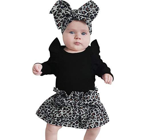 Jimmackey- Bambina Neonato Manica Lunga Pagliaccetto Neonata con Fascia Elegante Invernale Volant Tutina + Leopardo Gonna 2PCS Abiti Set
