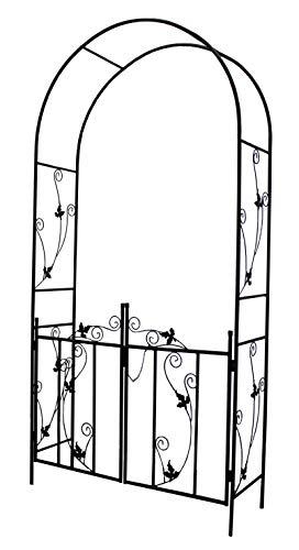 defacto Rosenbogen mit integr. Tor Rankgitter Gartentor Rankhilfe Rostfrei - 230x 114 x 37 cm - Metall - Tor verriegelbar - Farbe: schwarz [DF-28KD