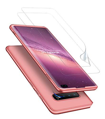 JOYTAG compatibles para Funda Samsung S10+ S10 Plus Carcasa +Protector de Pantalla [2 Paquetes] 360 Grados Ultra Delgado 3 en 1 Case-Oro Rosa